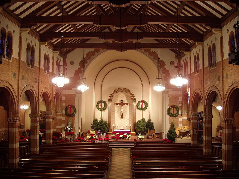 Our Lady of Guadalupe Church decorated for the Christmas season